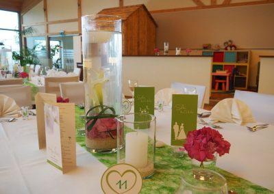 Tischdekoration einer Hochzeit im Panoramasaal